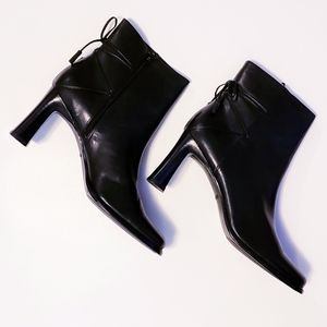 Mister Shoe Black Leather High Heel Ankle Boots